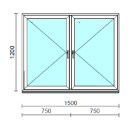 TO Ny-Ny ablak.  150x120 cm (Rendelhető méretek: szélesség 145-154 cm, magasság 115-124 cm.)   Optima 76 profilból