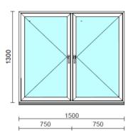 TO Ny-Ny ablak.  150x130 cm (Rendelhető méretek: szélesség 145-154 cm, magasság 125-134 cm.)   Optima 76 profilból