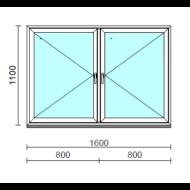 TO Ny-Ny ablak.  160x110 cm (Rendelhető méretek: szélesség 155-164 cm, magasság 105-114 cm.)   Optima 76 profilból