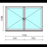TO Ny-Ny ablak.  170x110 cm (Rendelhető méretek: szélesség 165-174 cm, magasság 105-114 cm.)   Optima 76 profilból