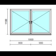 TO Ny-Ny ablak.  180x110 cm (Rendelhető méretek: szélesség 175-180 cm, magasság 105-114 cm.)   Optima 76 profilból
