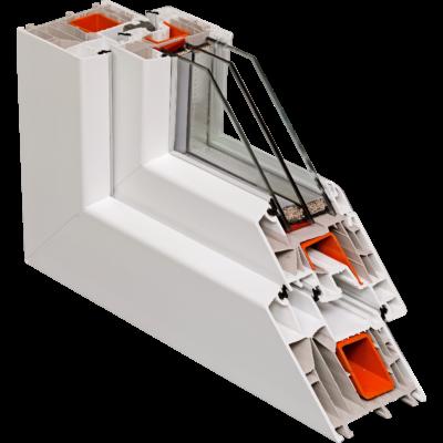 Fix ablak.  130x 90 cm (Rendelhető méretek: szélesség 125-134 cm, magasság 85-94 cm.)   Optima 76 profilból