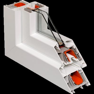 Fix ablak.   90x 90 cm (Rendelhető méretek: szélesség 85-94 cm, magasság 85-94 cm.)  New Balance 85 profilból