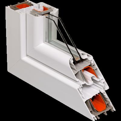 Fix ablak.   60x160 cm (Rendelhető méretek: szélesség 55-64 cm, magasság 155-164 cm.)   Optima 76 profilból