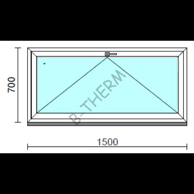 Bukó ablak.  150x 70 cm (Rendelhető méretek: szélesség 145-150 cm, magasság 65- 74 cm.)   Optima 76 profilból