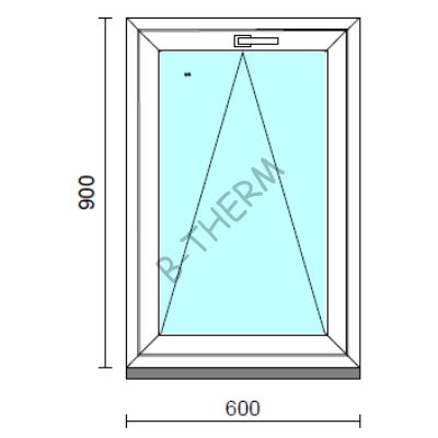 Bukó ablak.   60x 90 cm (Rendelhető méretek: szélesség 55- 64 cm, magasság 85- 90 cm.)   Optima 76 profilból