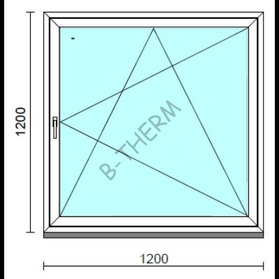 Bukó-nyíló ablak.  120x120 cm (Rendelhető méretek: szélesség 115-124 cm, magasság 115-124 cm.)   Optima 76 profilból