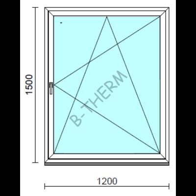 Bukó-nyíló ablak.  120x150 cm (Rendelhető méretek: szélesség 115-124 cm, magasság 145-154 cm.)   Optima 76 profilból