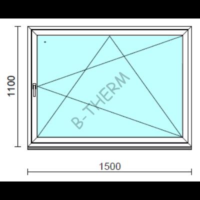 Bukó-nyíló ablak.  150x110 cm (Rendelhető méretek: szélesség 145-150 cm, magasság -114 cm.)  New Balance 85 profilból