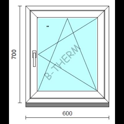 Bukó-nyíló ablak.   60x 70 cm (Rendelhető méretek: szélesség 55- 64 cm, magasság 65- 74 cm.)  New Balance 85 profilból