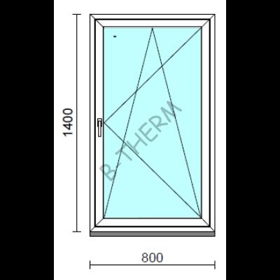 Bukó-nyíló ablak.   80x140 cm (Rendelhető méretek: szélesség 75- 84 cm, magasság 135-144 cm.)   Optima 76 profilból