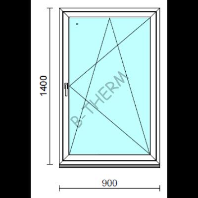 Bukó-nyíló ablak.   90x140 cm (Rendelhető méretek: szélesség 85- 94 cm, magasság 135-144 cm.)   Optima 76 profilból