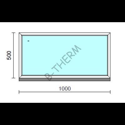 Fix ablak.  100x 50 cm (Rendelhető méretek: szélesség 95-104 cm, magasság 50-54 cm.)   Optima 76 profilból