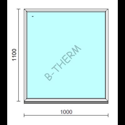 Fix ablak.  100x110 cm (Rendelhető méretek: szélesség 95-104 cm, magasság 105-114 cm.)   Optima 76 profilból