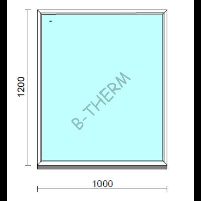Fix ablak.  100x120 cm (Rendelhető méretek: szélesség 95-104 cm, magasság 115-124 cm.)   Optima 76 profilból
