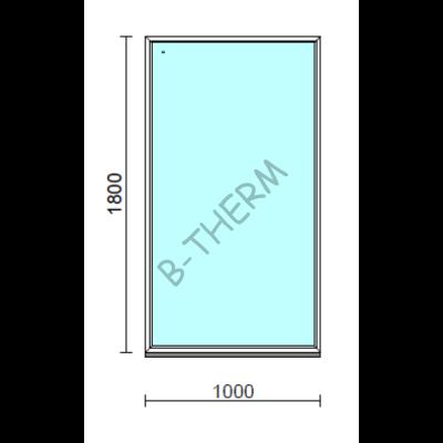 Fix ablak.  100x180 cm (Rendelhető méretek: szélesség 95-104 cm, magasság 175-184 cm.)   Optima 76 profilból