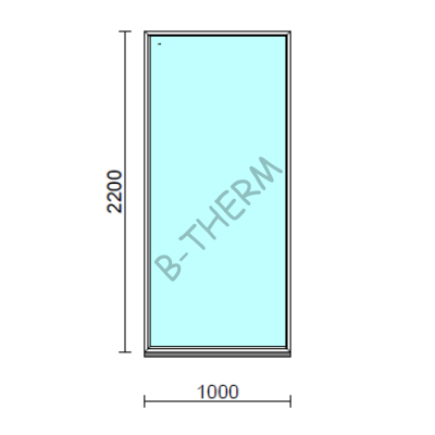 Fix ablak.  100x220 cm (Rendelhető méretek: szélesség 95-104 cm, magasság 215-224 cm.)   Optima 76 profilból