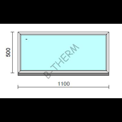Fix ablak.  110x 50 cm (Rendelhető méretek: szélesség 105-114 cm, magasság 50-54 cm.)   Optima 76 profilból