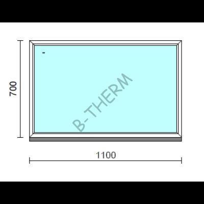 Fix ablak.  110x 70 cm (Rendelhető méretek: szélesség 105-114 cm, magasság 65-74 cm.)   Optima 76 profilból