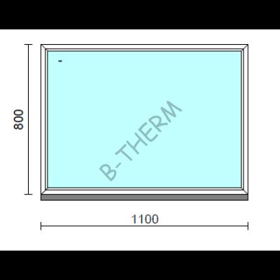 Fix ablak.  110x 80 cm (Rendelhető méretek: szélesség 105-114 cm, magasság 75-84 cm.)   Optima 76 profilból