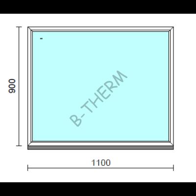 Fix ablak.  110x 90 cm (Rendelhető méretek: szélesség 105-114 cm, magasság 85-94 cm.)   Optima 76 profilból