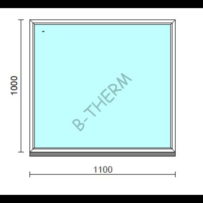 Fix ablak.  110x100 cm (Rendelhető méretek: szélesség 105-114 cm, magasság 95-104 cm.)   Optima 76 profilból