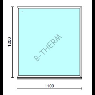 Fix ablak.  110x120 cm (Rendelhető méretek: szélesség 105-114 cm, magasság 115-124 cm.)   Optima 76 profilból