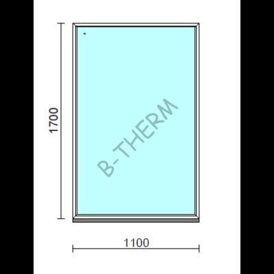 Fix ablak.  110x170 cm (Rendelhető méretek: szélesség 105-114 cm, magasság 165-174 cm.)   Optima 76 profilból