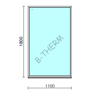 Fix ablak.  110x180 cm (Rendelhető méretek: szélesség 105-114 cm, magasság 175-184 cm.)  New Balance 85 profilból