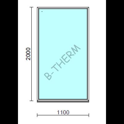 Fix ablak.  110x200 cm (Rendelhető méretek: szélesség 105-114 cm, magasság 195-204 cm.)   Optima 76 profilból