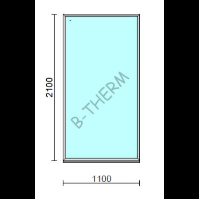Fix ablak.  110x210 cm (Rendelhető méretek: szélesség 105-114 cm, magasság 205-214 cm.)   Optima 76 profilból
