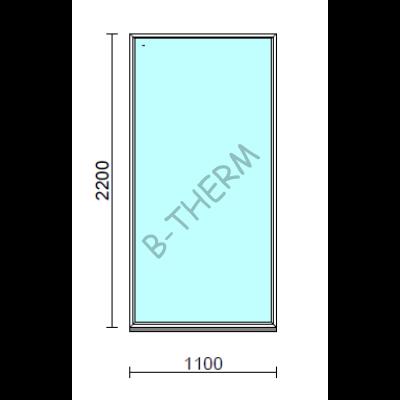 Fix ablak.  110x220 cm (Rendelhető méretek: szélesség 105-114 cm, magasság 215-224 cm.)   Optima 76 profilból