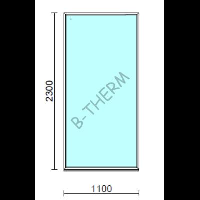 Fix ablak.  110x230 cm (Rendelhető méretek: szélesség 105-114 cm, magasság 225-234 cm.)   Optima 76 profilból