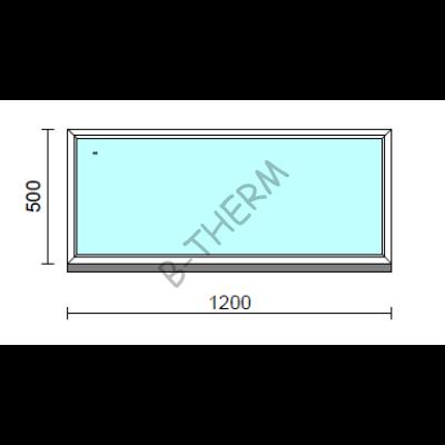 Fix ablak.  120x 50 cm (Rendelhető méretek: szélesség 115-124 cm, magasság 50-54 cm.)   Optima 76 profilból