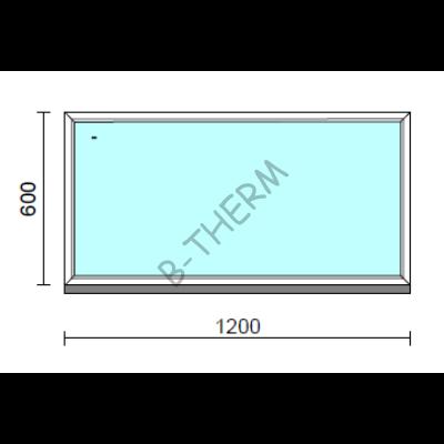 Fix ablak.  120x 60 cm (Rendelhető méretek: szélesség 115-124 cm, magasság 55-64 cm.)   Optima 76 profilból