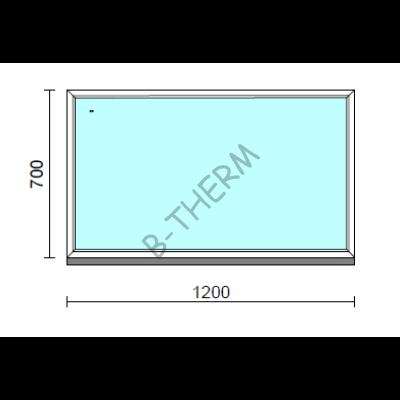 Fix ablak.  120x 70 cm (Rendelhető méretek: szélesség 115-124 cm, magasság 65-74 cm.) Deluxe A85 profilból