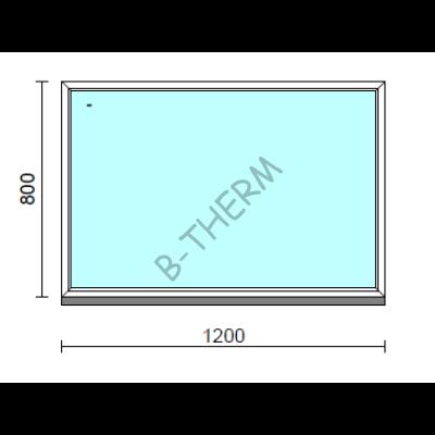 Fix ablak.  120x 80 cm (Rendelhető méretek: szélesség 115-124 cm, magasság 75-84 cm.)   Optima 76 profilból