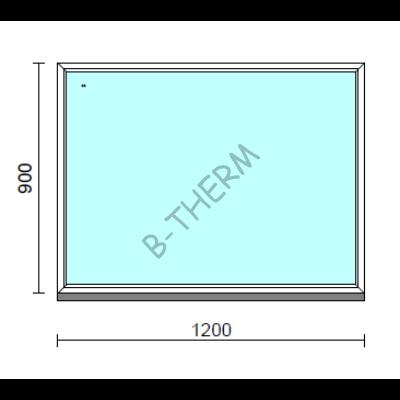Fix ablak.  120x 90 cm (Rendelhető méretek: szélesség 115-124 cm, magasság 85-94 cm.)   Optima 76 profilból