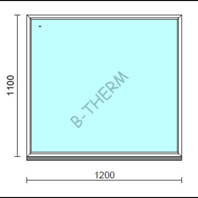 Fix ablak.  120x110 cm (Rendelhető méretek: szélesség 115-124 cm, magasság 105-114 cm.)   Optima 76 profilból