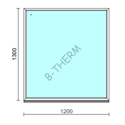 Fix ablak.  120x130 cm (Rendelhető méretek: szélesség 115-124 cm, magasság 125-134 cm.)   Optima 76 profilból