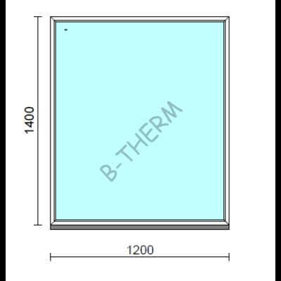 Fix ablak.  120x140 cm (Rendelhető méretek: szélesség 115-124 cm, magasság 135-144 cm.)   Optima 76 profilból
