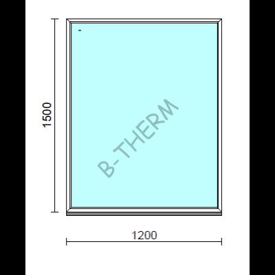 Fix ablak.  120x150 cm (Rendelhető méretek: szélesség 115-124 cm, magasság 145-154 cm.)   Optima 76 profilból