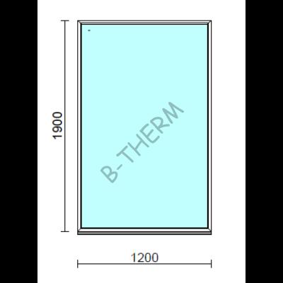 Fix ablak.  120x190 cm (Rendelhető méretek: szélesség 115-124 cm, magasság 185-194 cm.)   Optima 76 profilból