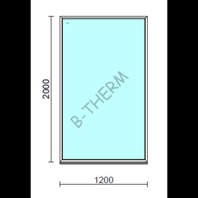 Fix ablak.  120x200 cm (Rendelhető méretek: szélesség 115-124 cm, magasság 195-204 cm.)   Optima 76 profilból