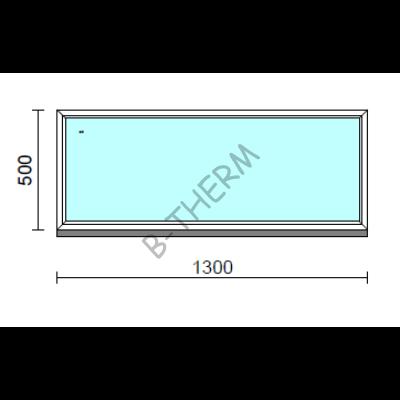 Fix ablak.  130x 50 cm (Rendelhető méretek: szélesség 125-134 cm, magasság 50-54 cm.)   Optima 76 profilból