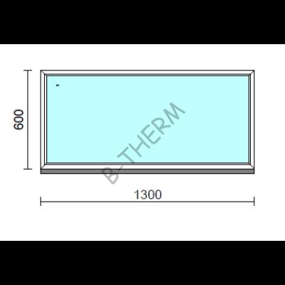 Fix ablak.  130x 60 cm (Rendelhető méretek: szélesség 125-134 cm, magasság 55-64 cm.)   Optima 76 profilból