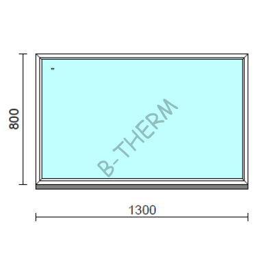 Fix ablak.  130x 80 cm (Rendelhető méretek: szélesség 125-134 cm, magasság 75-84 cm.)   Optima 76 profilból