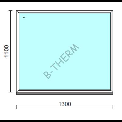 Fix ablak.  130x110 cm (Rendelhető méretek: szélesség 125-134 cm, magasság 105-114 cm.)   Optima 76 profilból