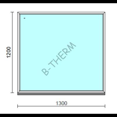 Fix ablak.  130x120 cm (Rendelhető méretek: szélesség 125-134 cm, magasság 115-124 cm.)   Optima 76 profilból