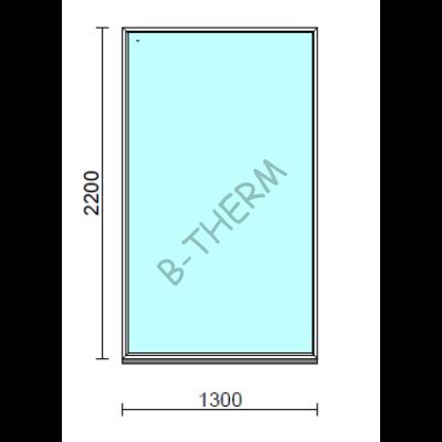 Fix ablak.  130x220 cm (Rendelhető méretek: szélesség 125-134 cm, magasság 215-224 cm.)   Optima 76 profilból